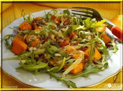 Тыквенный салат с руколой