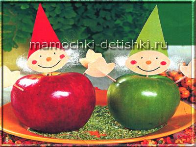 Украшение стола из яблок