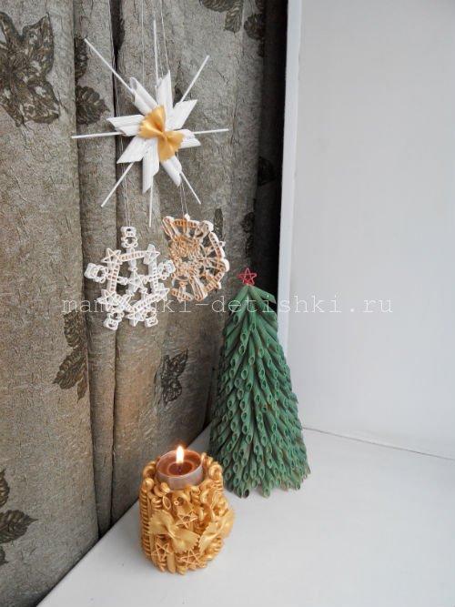 Новогодние поделки из макарон своими руками